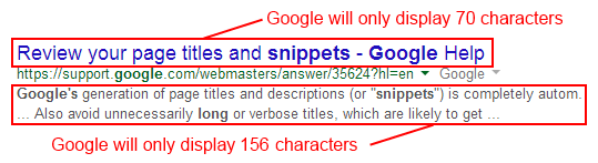 SERP title and snippet